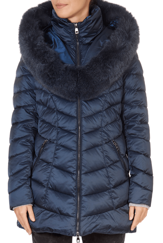 'Nicole' Navy Puffer Coat | Jessimara London