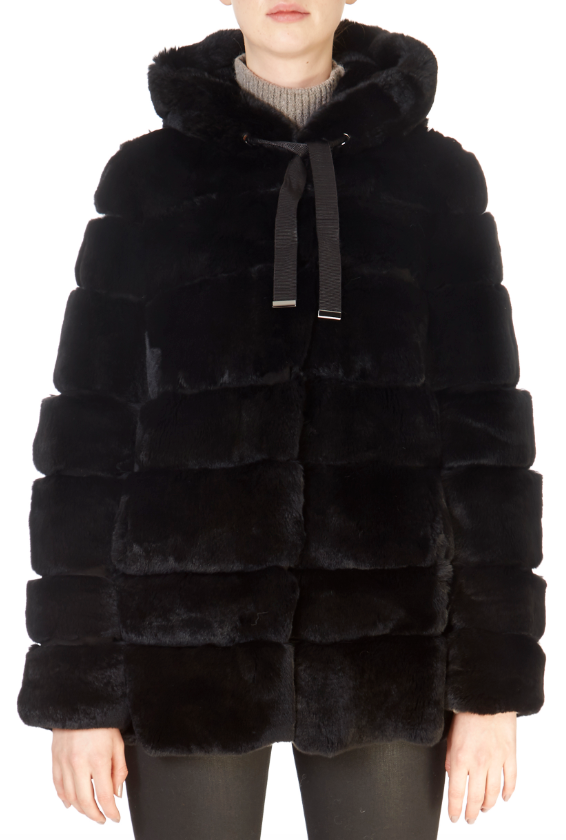 'Roma' Black Rex Rabbit Coat | Jessimara London