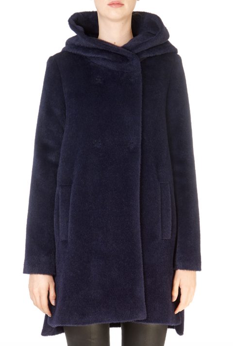 'Polaire' Navy Hooded Wool Coat - Jessimara