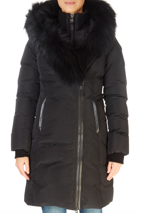 'Kay XR' Black Down Coat With Silver Fox Collar | Jessimara London
