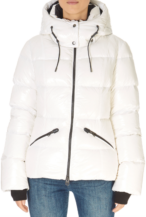 'Madalyn' Shiny White Down Puffer Coat With Removable Hood | Jessimara London