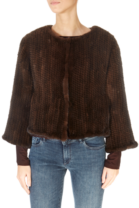 Short 3/4 Sleeve Brown Mink Jacket | Jessimara London
