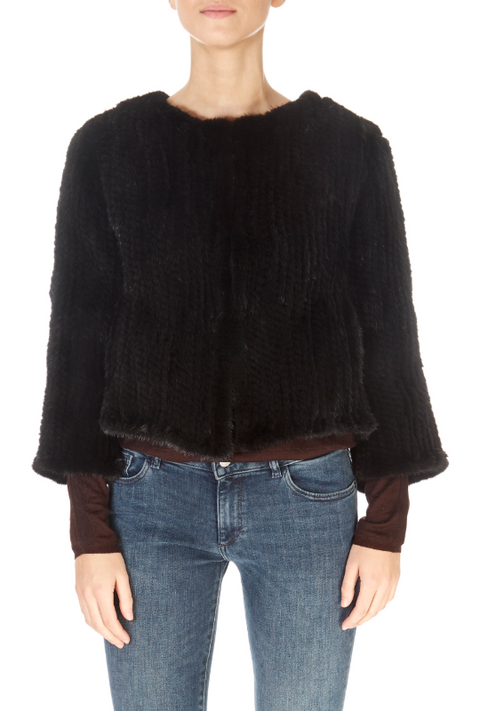 Short 3/4 Sleeve Black Mink Jacket | Jessimara London