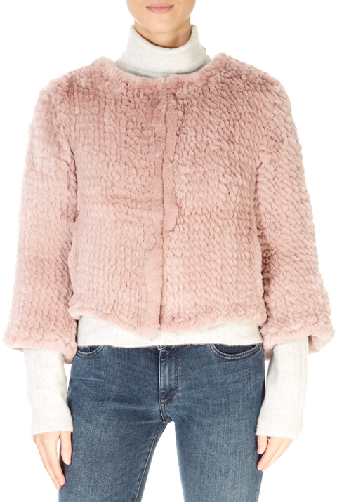 Short 3/4 Sleeve Rose Pink Rex Rabbit Jacket | Jessimara London