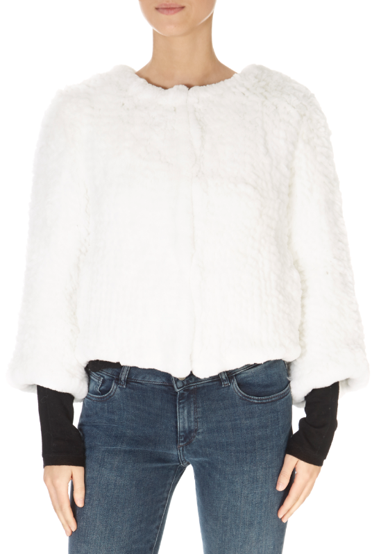 Short 3/4 Sleeve White Rex Rabbit Jacket | Jessimara London