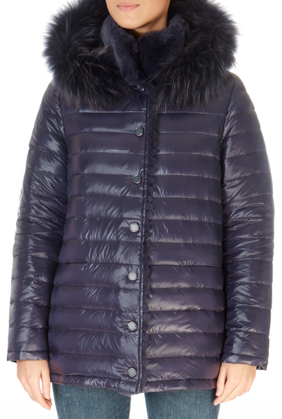 Short Navy Rex Rabbit Reversible Puffer | Jessimara London