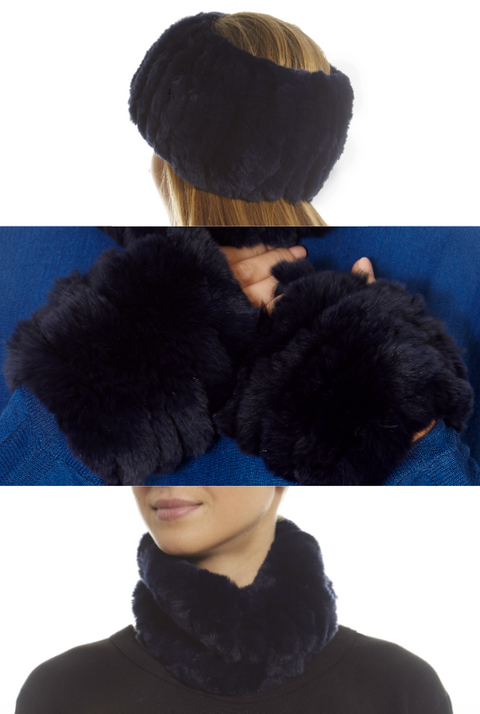 Navy Rabbit Fur Snood and Fingerless Gloves Set | Jessimara London