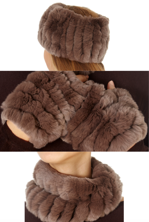 Taupe Rabbit Fur Snood and Fingerless Gloves Set | Jessimara London