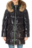 Mid-Length Shiny Black With Green Puffer Coat | Jessimara London
