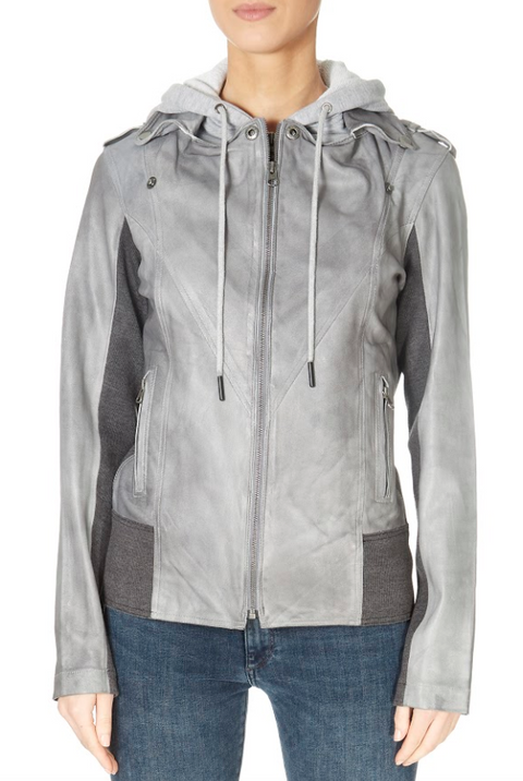 Grey Biker Hoodie Leather Jacket