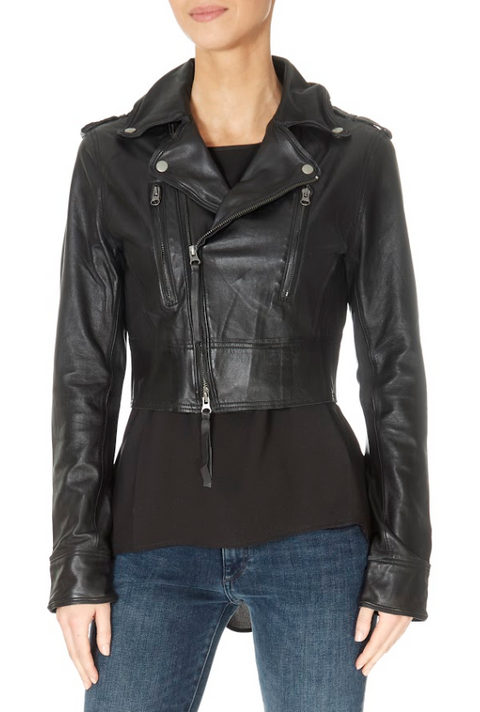 Cropped Black Leather Jacket