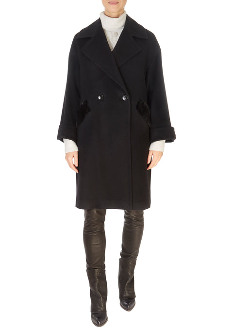 Black Wool Double Breasted Coat With Mink Trim - Jessimara