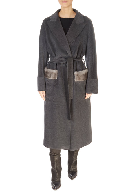 Grey Belted Wool Coat With Mink Pocket Trim | Jessimara London