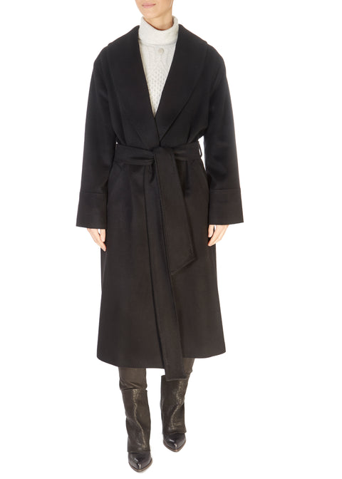 Long Black Belted Wool Coat | Jessimara London