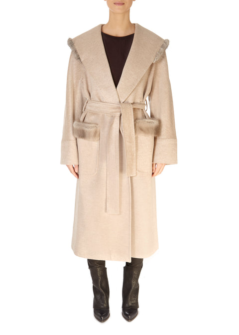 Long Belted Beige Coat With Mink Trim | Jessimara London