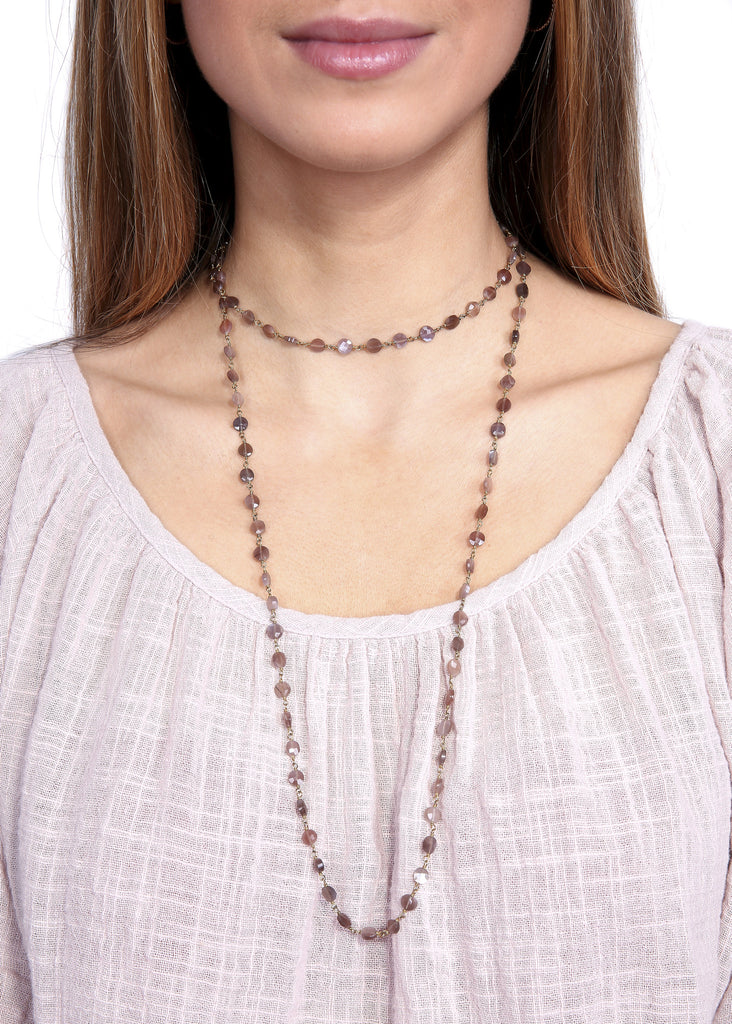 Ela Rae 'Diana' Brown Moonstone Chain Necklace ela rae - Jessimara