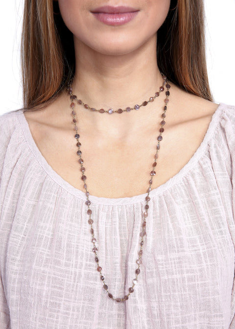 Ela Rae 'Diana' Brown Moonstone Chain Necklace - Jessimara