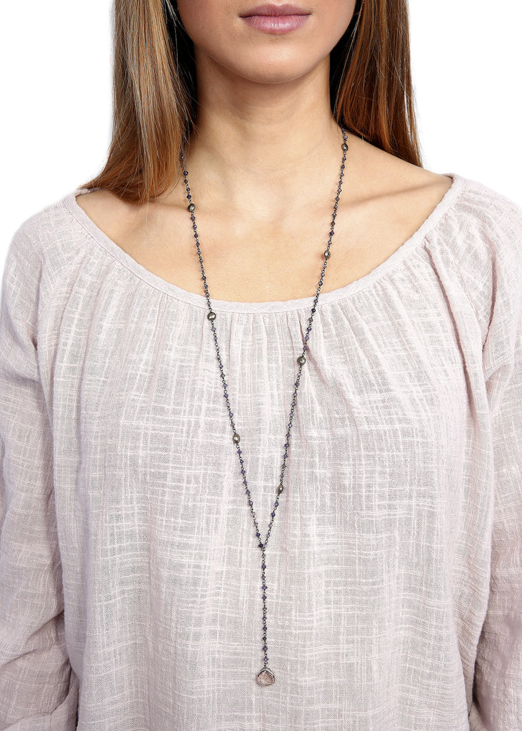 Ela Rae 'Yaeli' Lolite, Pyrite, S.Quartz Chain Drop Down Necklace ela rae - Jessimara