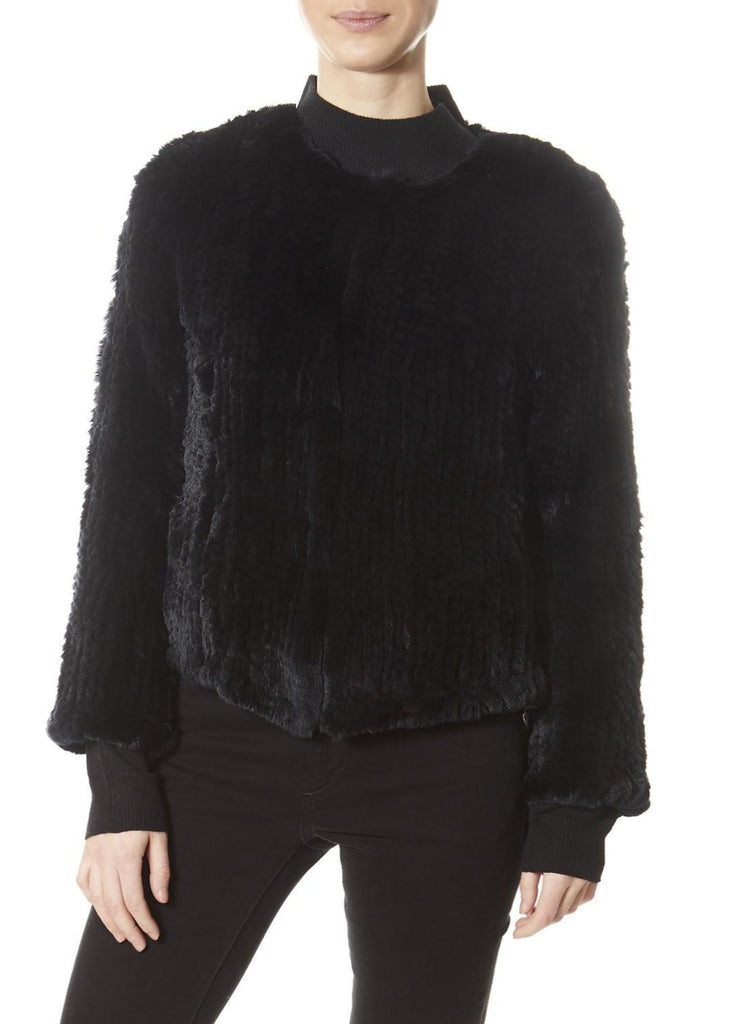 Black Classic Short Knitted Rex Rabbit Jacket | Jessimara London