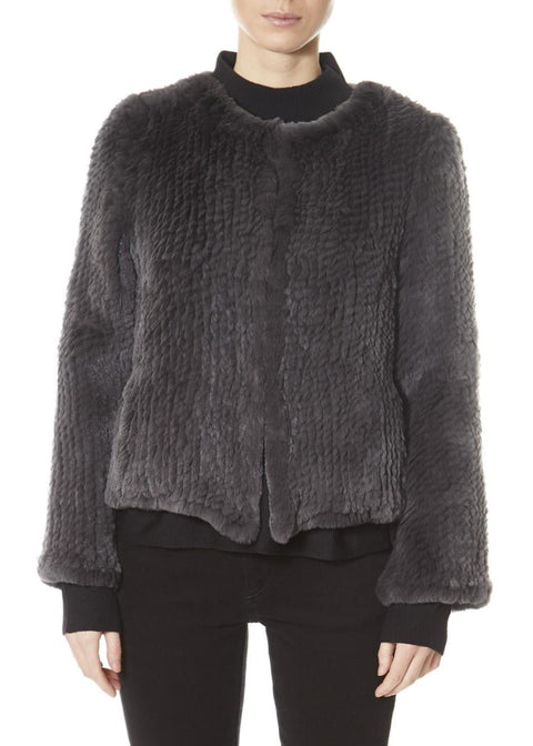 Dark Grey Classic Short Knitted Rex Rabbit Jacket | Jessimara London