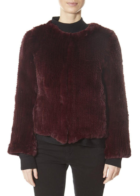Burgundy Classic Short Knitted Rex Rabbit Jacket | Jessimara London