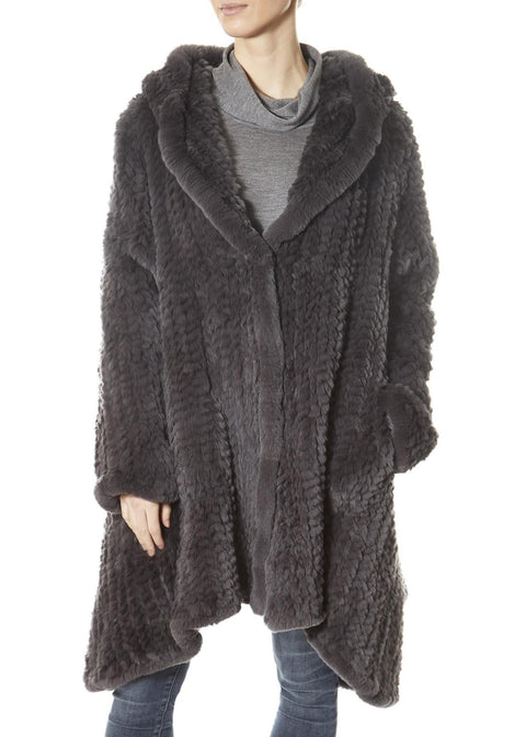 Dark Grey Long Hooded Asymmetric Knitted Rex Rabbit Jacket | Jessimara London