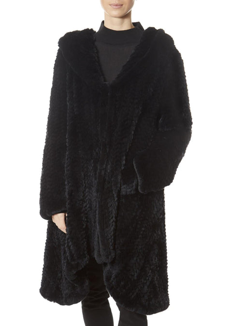 Black Long Hooded Asymmetric Knitted Rex Rabbit Jacket | Jessimara London