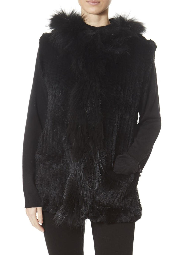 Black Rabbit Gilet With Raccoon Trim | Jessimara London