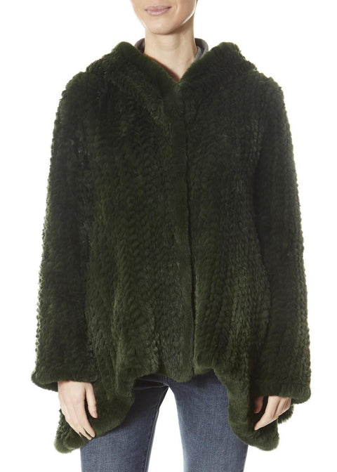 Green Asymmetric Knitted Rex Rabbit Jacket With Hood | Jessimara London