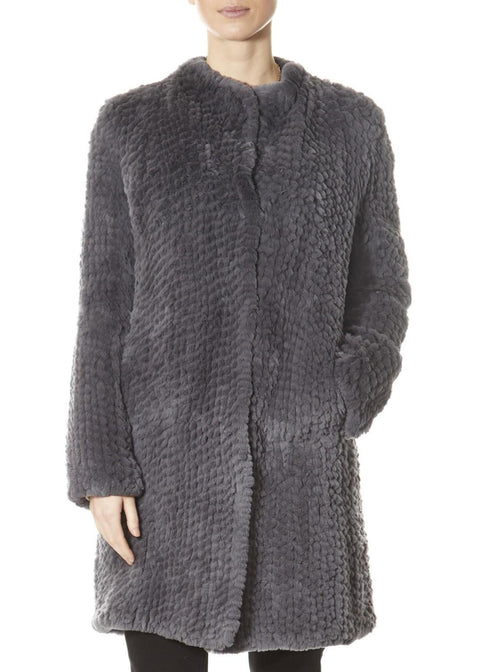 Grey Rex Rabbit Straight Coat | Jessimara London