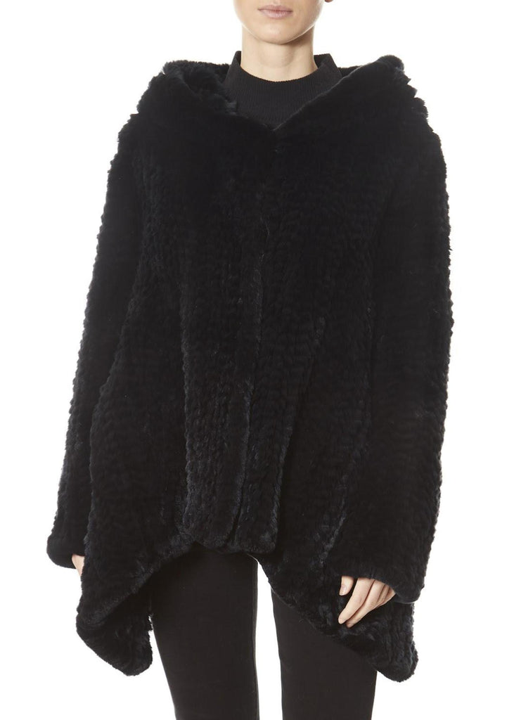 Black Hooded Asymmetric Knitted Rex Rabbit Jacket | Jessimara London