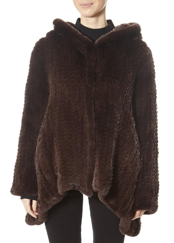 Brown Hooded Asymmetric Knitted Rex Rabbit Jacket | Jessimara London