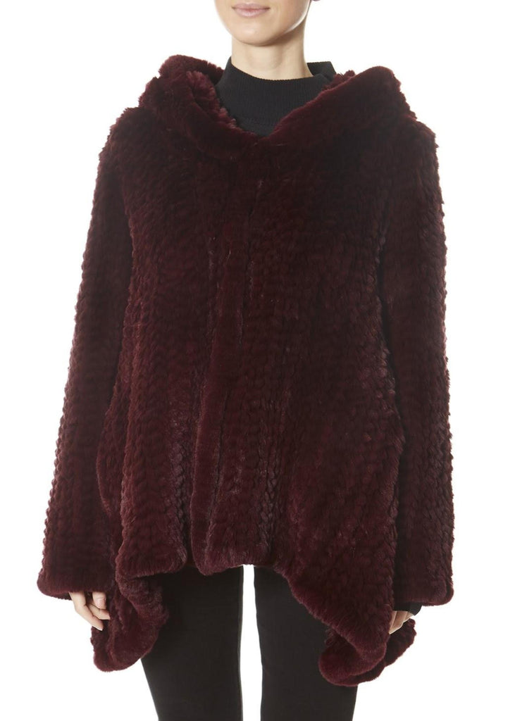 Burgundy Hooded Asymmetric Knitted Rex Rabbit Jacket | Jessimara London