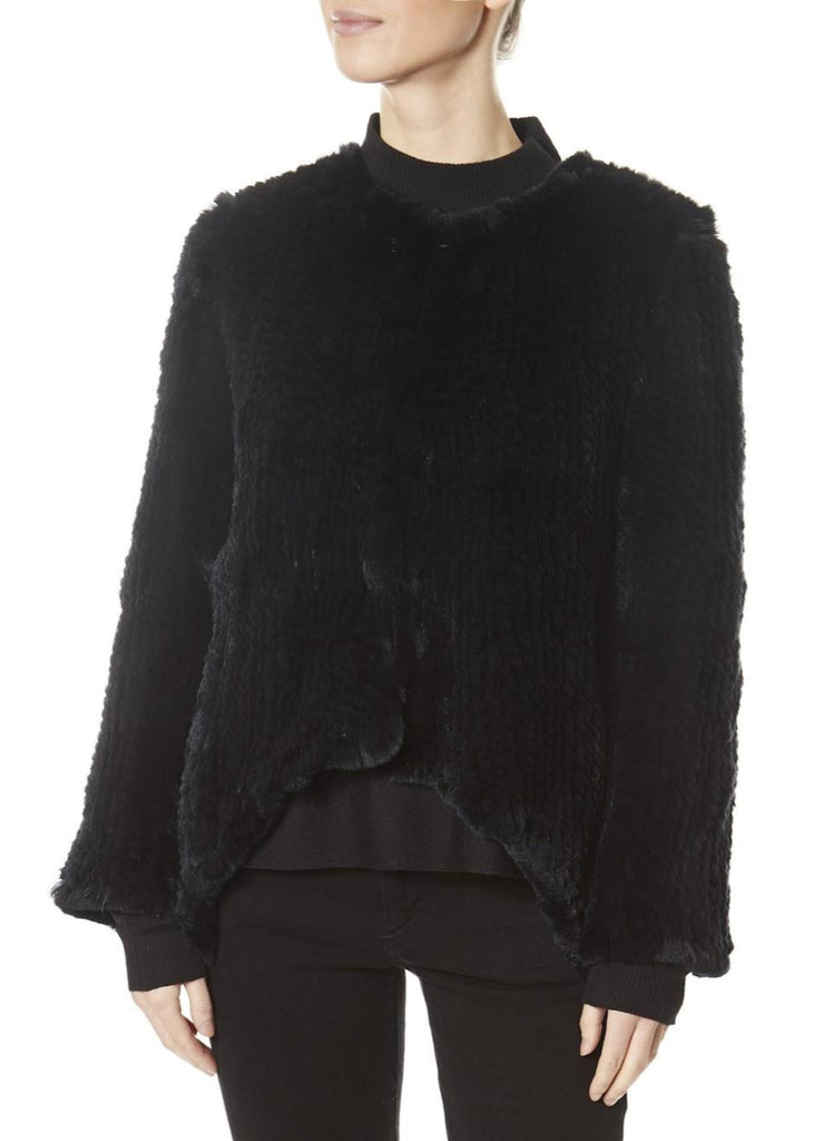 Black Asymmetric Knitted Rex Rabbit Jacket | Jessimara London