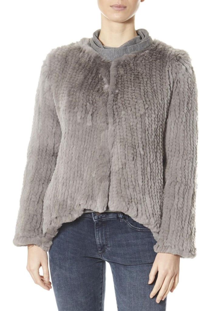 Light Grey Asymmetric Knitted Rex Rabbit Jacket | Jessimara London