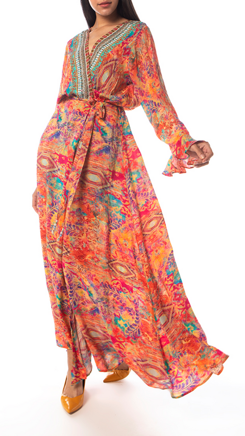 'Modena' Orange Lux Silk Robe