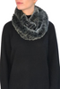 Dark Grey Snowtop Knitted Rabbit Double Snood With Fur Trim