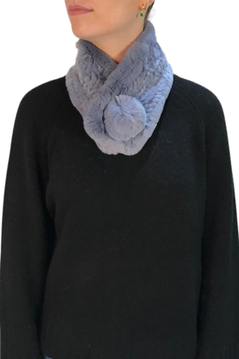 Denim Blue Bobble Knitted Rabbit Luxury Fur Scarf