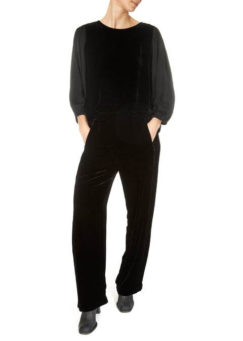 'Dennie' Black Silk Velvet Trousers