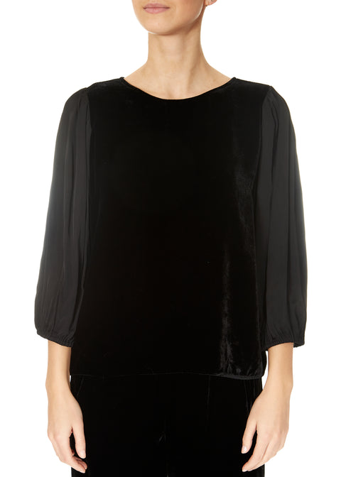 'Elise' Black Silk Velvet and Satin Sleeved Shirt