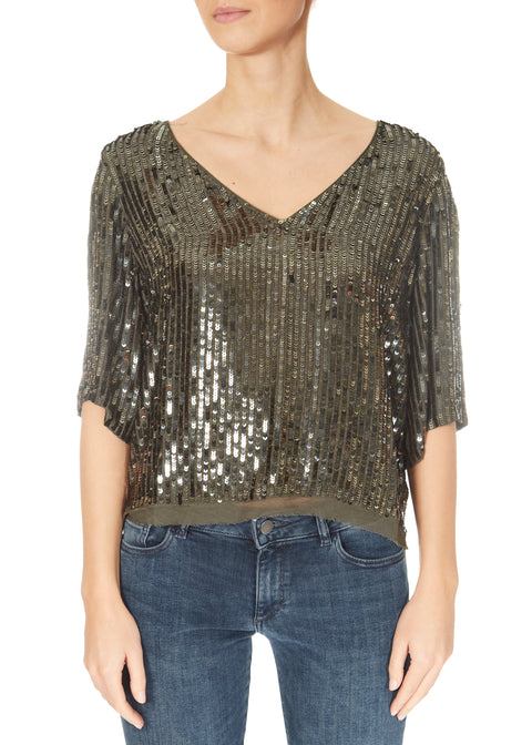 'Karen' Khaki Green Sequin Top