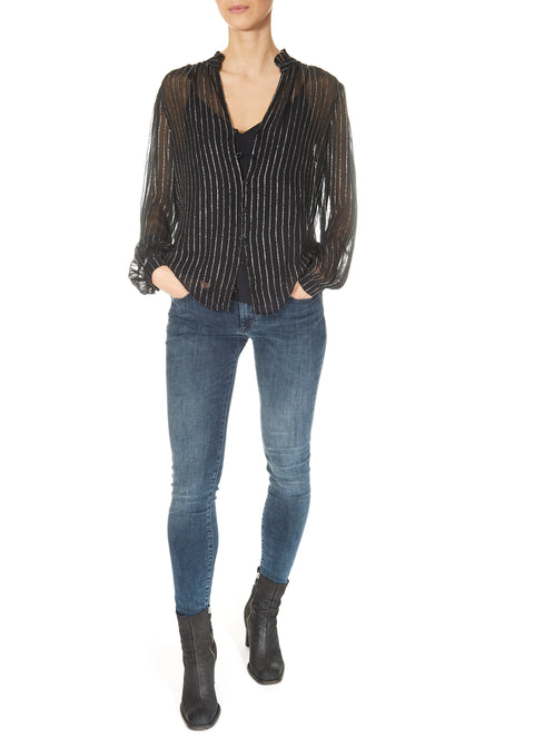 'Tomie' Silver Lurex Striped Chiffon Blouse in Black