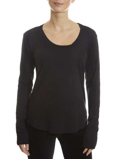 'Adiel' Black Round Scoop Neck Top | Jessimara London