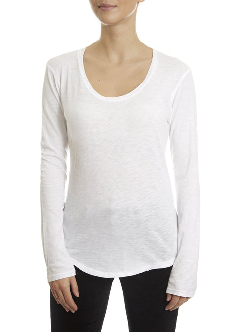'Adiel' White Round Scoop Neck