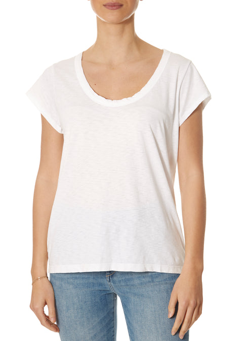 'Katie' Scoop Neck White Short Sleeve Tee