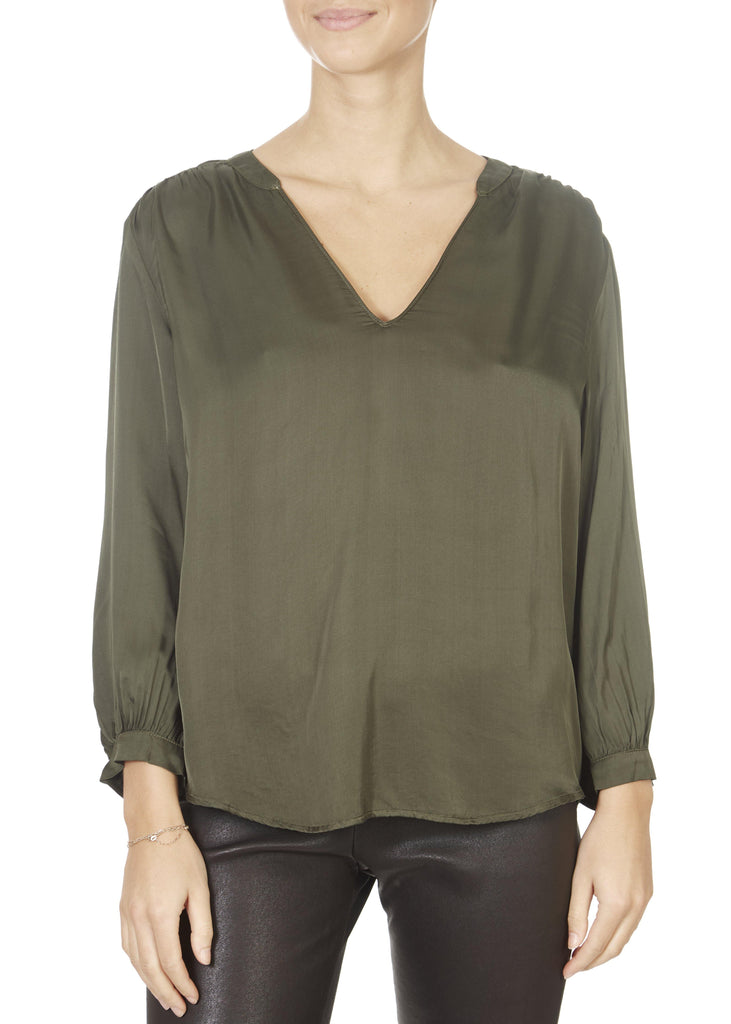'Lori' Olive Green V-Neck Blouse | Jessimara London