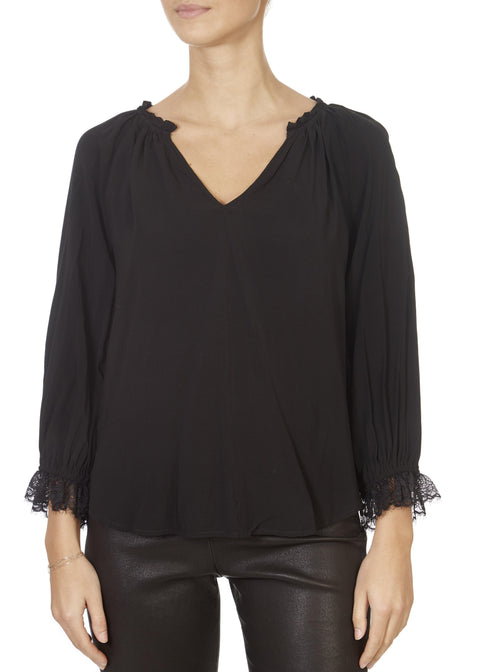 'Madily' Black V-Neck Shirt With Lace Trim