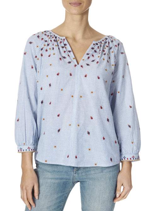 'Morie' Blue Floral Embroidered Chambray Blouse In Stripes | Jessimara London