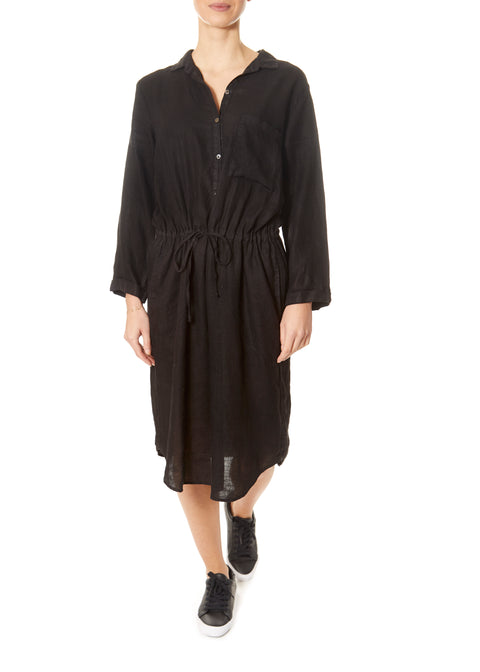 'Tristana' Woven Linen Black Shirt Dress