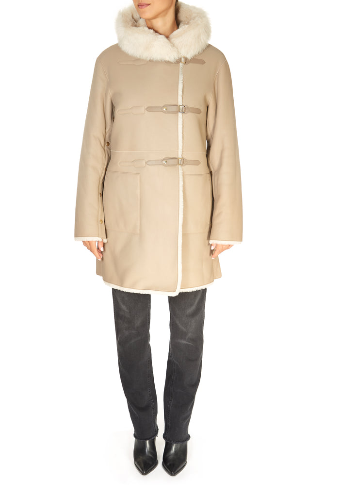 Ecru Hooded Reversible Sheepskin Coat